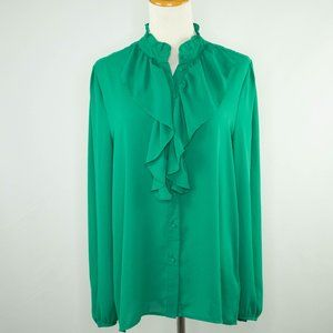 Who What Wear green ladies blouse with ruffles (M)